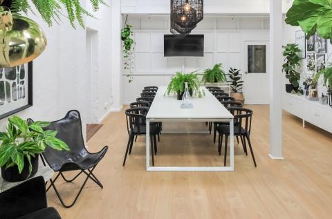 enough room for 1-8 permanent desks or workshop
