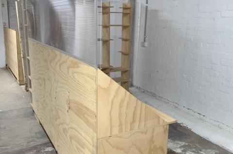Open studio example, built-in desk and shelves
