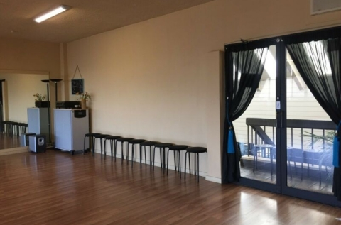 Entry door, sound system & seating