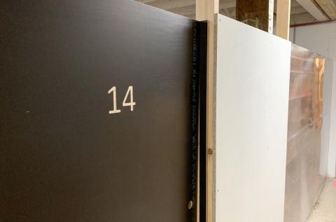 Lockable studio example, with built-in shelves