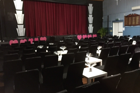 Set up for Vaudeville Affair musical event