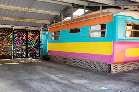 Retro caravan exterior
