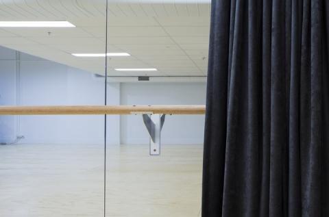 Ballet barre in studio