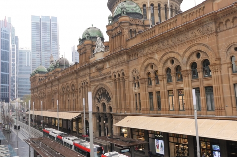 The view out the window, looking at the QVB.