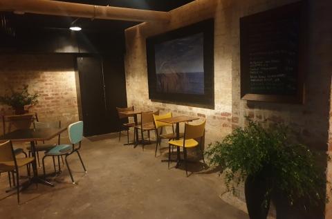 Basement with art wall