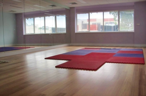 Open space, foam mats available, polished floors