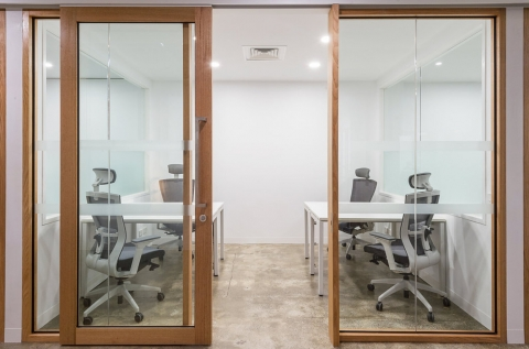 Light, bright, spacious offices with sliding doors