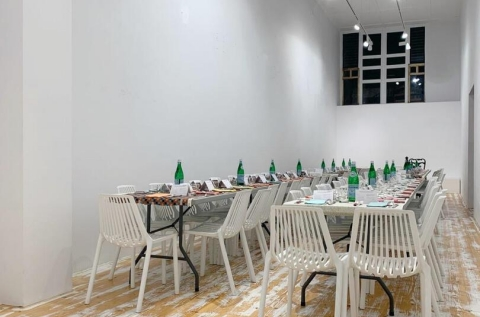 Dinner set up in the gallery (furniture not incl.)